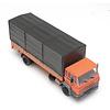 DAF tilt-cab 1987 open bed truck with canvas orange