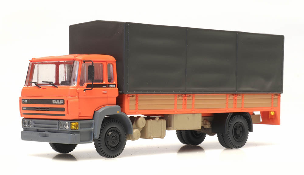 DAF kantelcabine 1987, open bak, huif, oranje