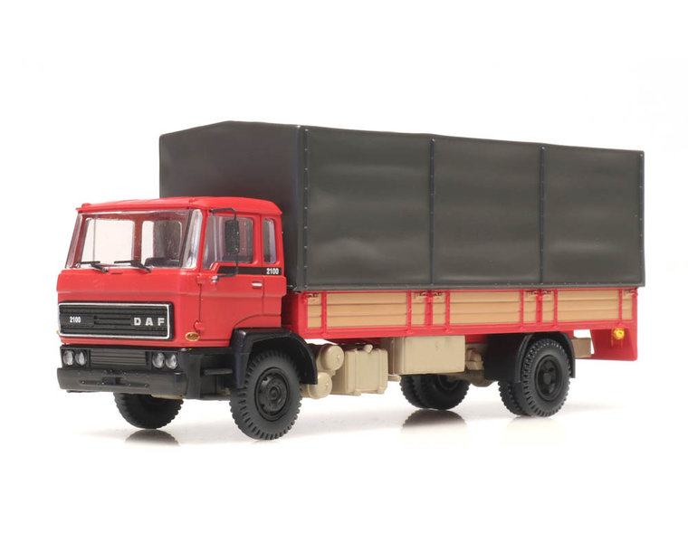 DAF tilt-cab 1982 open bed truck with canvas red