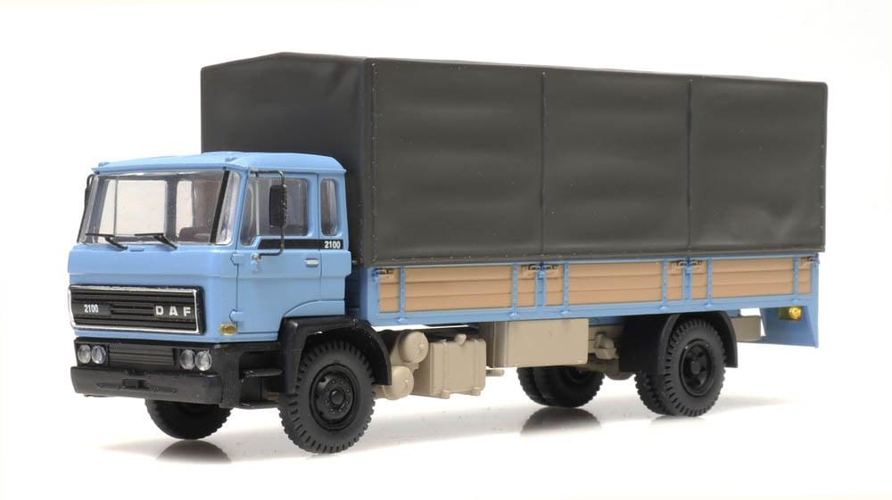 DAF tilt-cab 1982 open bed truck with canvas blue