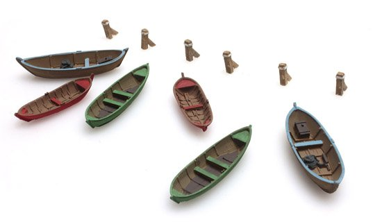 Rowing boats (6x), 1:160 resin kit, unpainted