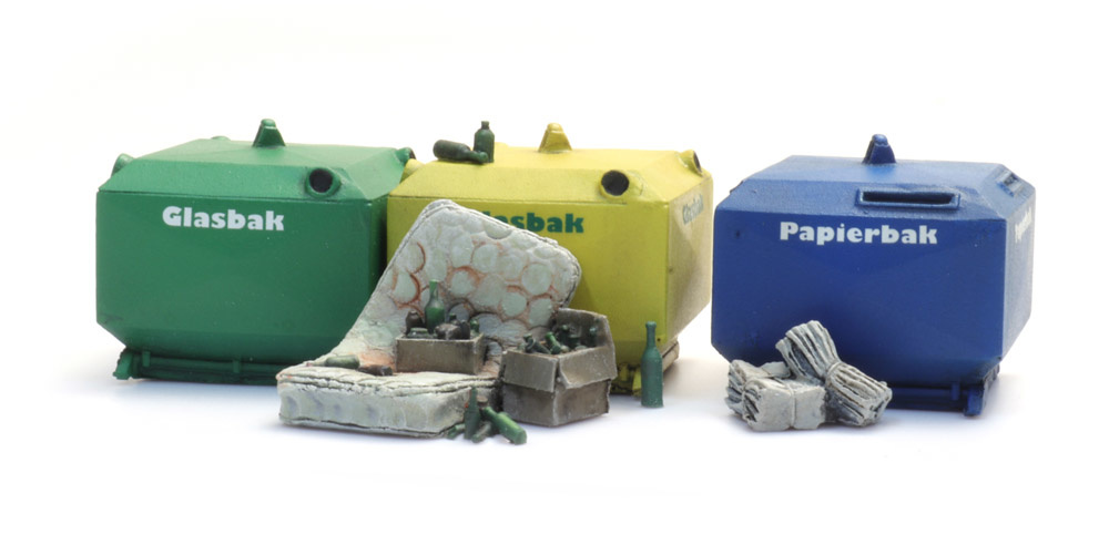 Glass and paper recycling containers