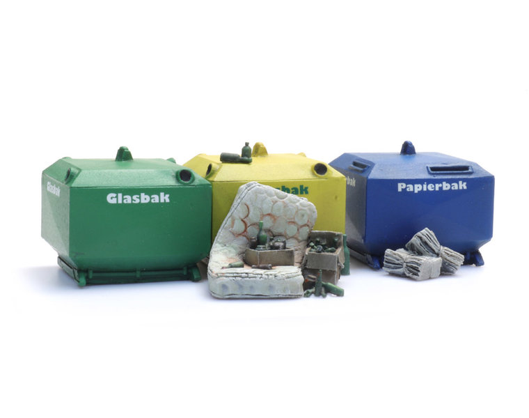 Glass and paper recycling containers and garbage