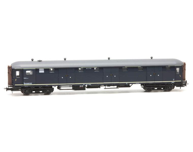 Stalen D 6-deurs bagagewagen D 7621, blauw, grijs dak