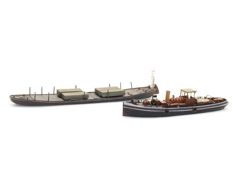 Canal steamer towing craft and towed barge