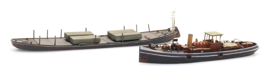 Kanalschleppdampfer und Schleppkahn, 1:160, Bausatz aus Resin