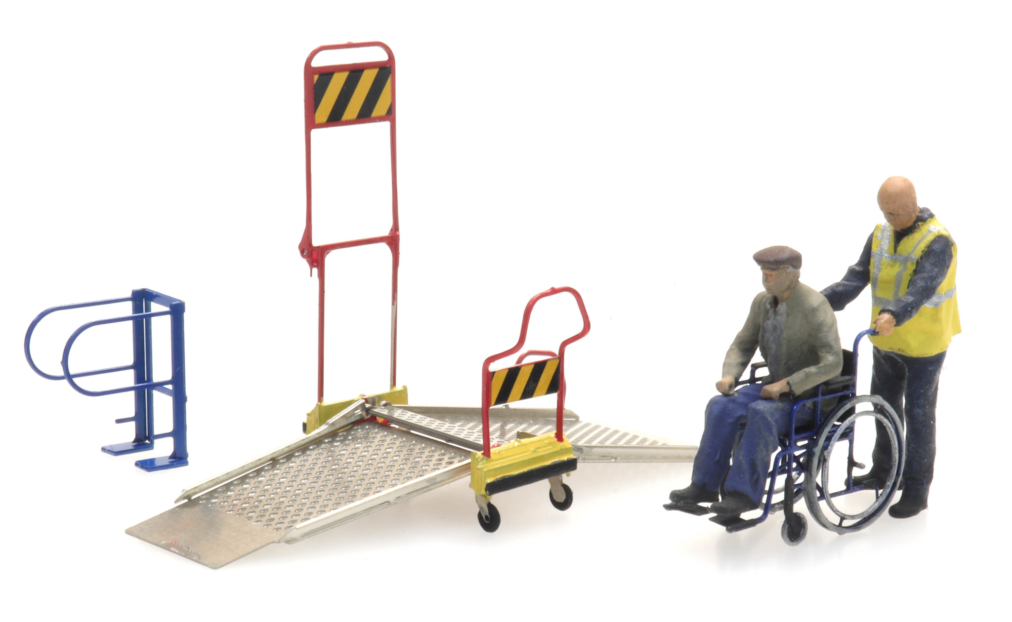 Wheelchair ramp and 2 figures