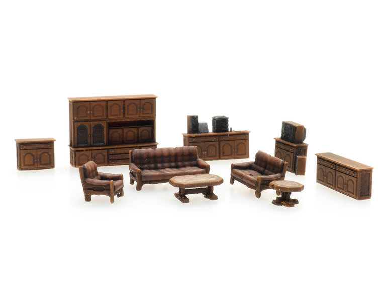 Dark brown living room interior
