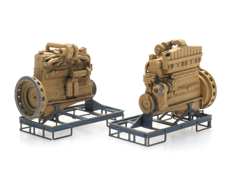 Industrial diesel engine on transport pallet (2x)