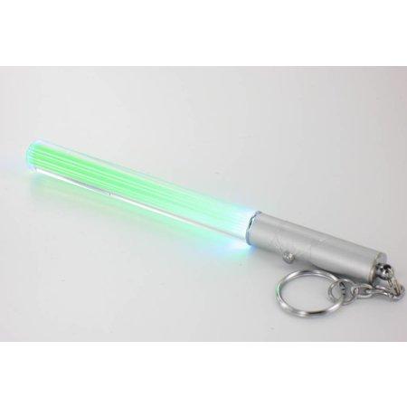 Mini LED Lightsaber sleutelhanger lampje - Blauw/Groen - 12 cm