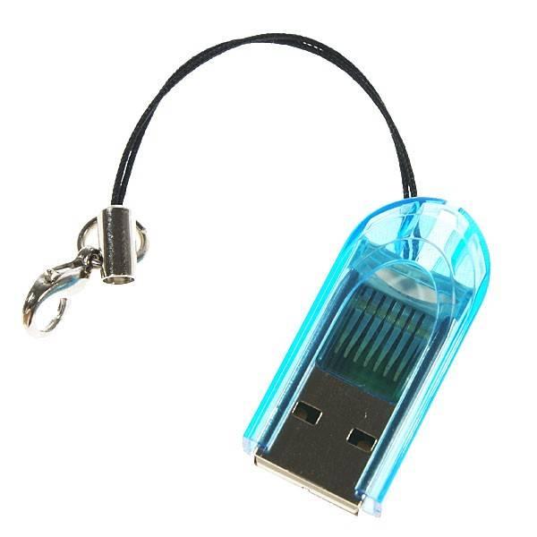 Dolphix Compacte USB Micro SDHC (High Capacity) Kaartlezer voor uw Notebook, laptop of computer - Blauw