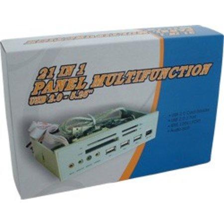 21in1 Paneel Zilver Cardreader USB Hub + Audio + Firewire