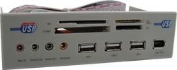 21in1 Panel Grijs Cardreader USB Hub + Audio + Firewire