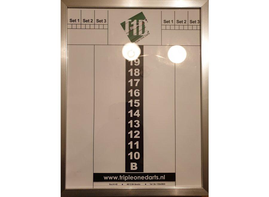 Schrijfbord glas + lijst 30 x 40