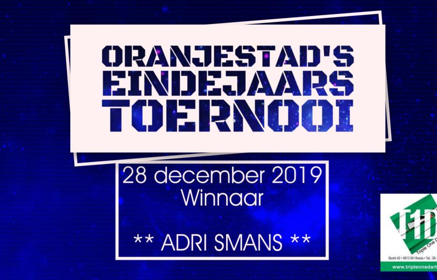 Ontketende Adri Smans wint overtuigend 2e eindejaarstoernooi