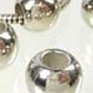 Kunststof kralen metal look rond 12x10mm met groot gat 6mm (± 20 st.