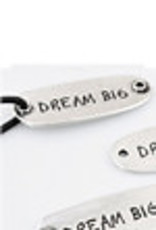 Metalen hangers/tussenzetsels 'Dream big' ± 15x40mm (oogjes ± 2mm).