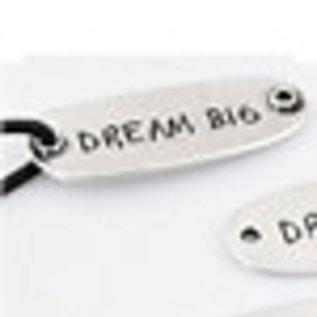 Metalen hangers/tussenzetsels 'Dream big' ± 15x40mm (oogjes ± 2mm).