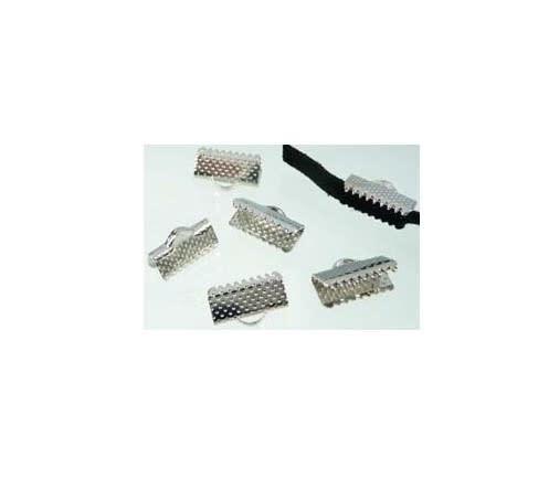Metalen veter/leerklemmetje 13x7mm (per stuk)