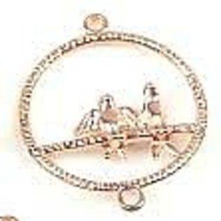 Metalen hangers/tussenzetsels ring met vogeltjes ± 34x27mm (oogje ± 1,5mm) rosegoud