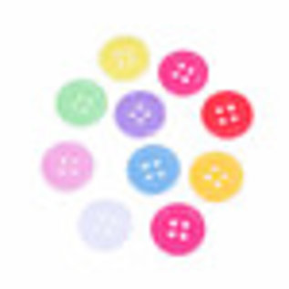 Mix kunststof knoopjes rond ± 15mm, ± 2mm dik (oogjes ± 1,5mm)