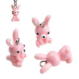 Kunststof hangers/bedels konijn 18x10mm