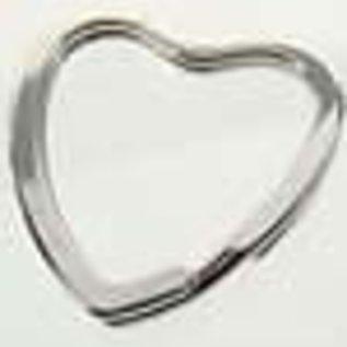 Metalen sleutelhanger ring hartvormig ± 31x3mm