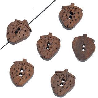 Houten knoopjes aardbei 15x19mm (per stuk)