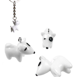 Kunststof hangers/bedels hondje 23x22mm