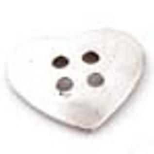 Metalen knoop hartje ± 34x32mm (4 gaten ± 4mm)