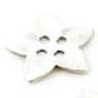 Metalen knoop bloem/ster ± 38mm (4 gaten ± 4mm)