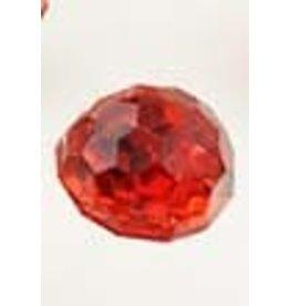 Kunststof knoopjes facet geslepen met zilverkleurige coating rood ± 12x11mm (gat ± 1mm)