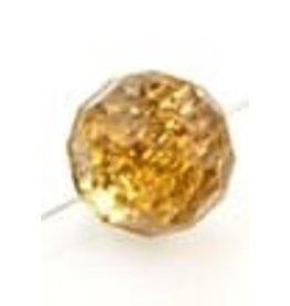 Kunststof knoopjes facet geslepen met zilverkleurige coating geel ± 12x11mm (gat ± 1mm)