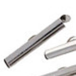 Metalen klemmetjes voor kettingen zilver ± 26x6mm (gat ± 3,5mm en oogje ± 1mm)