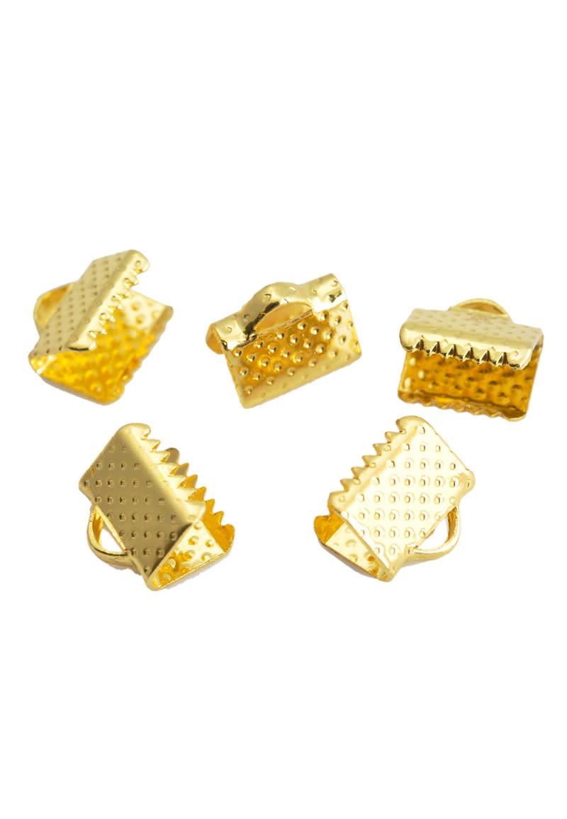 Metalen veter/lintklemmetje goud 8x8mm
