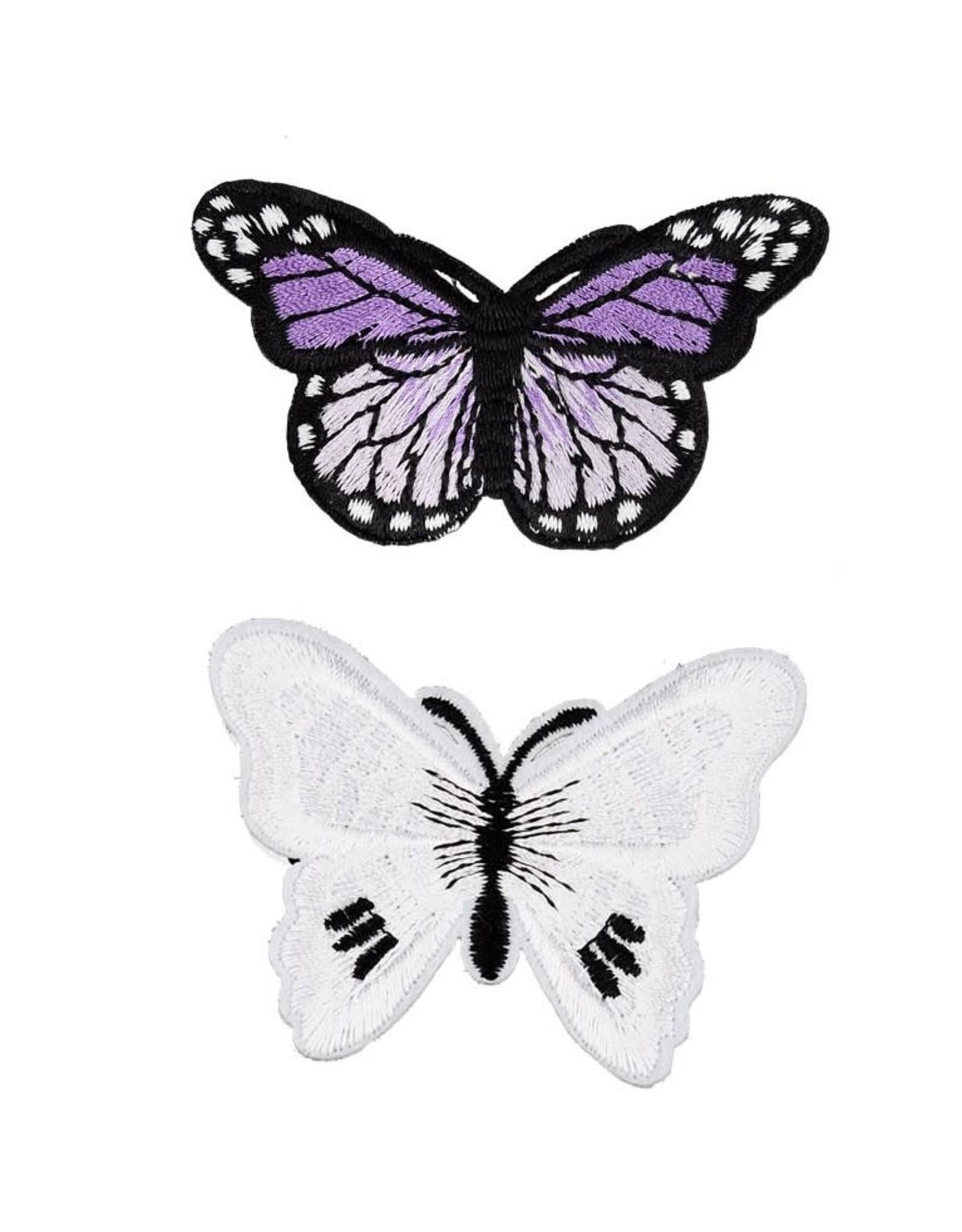 Stoffen patch vlinder 7cm wit&paars