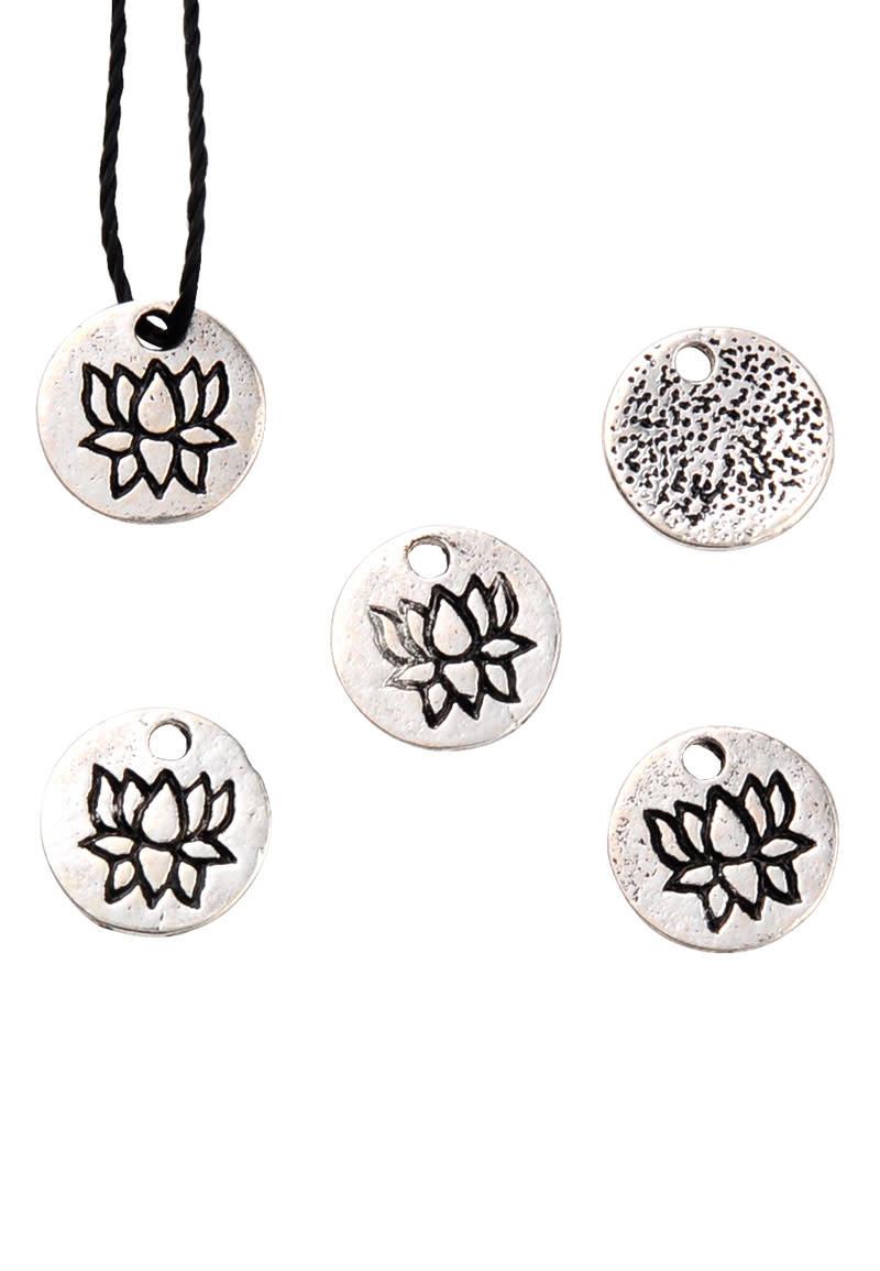 Metalen hangers/bedels rond met lotus 8mm (10st)