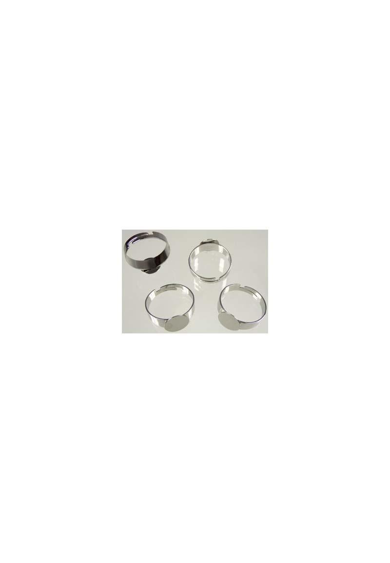 Metalen vingerring, voor 10mm plaksteen rond (in maat verstelbaar >= 16 = 56mm = Ø 18mm