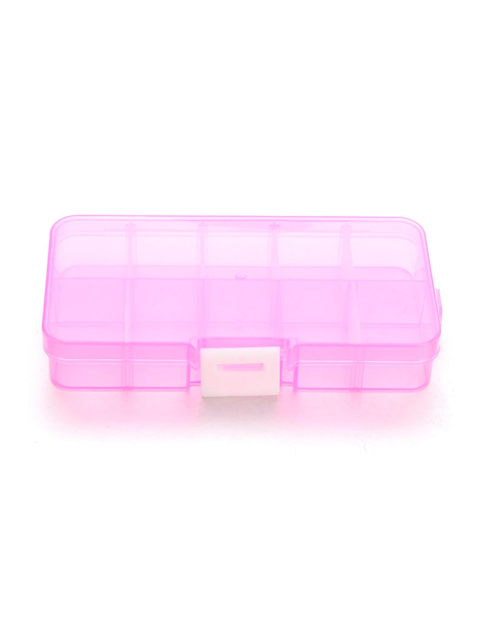 Kunststof doosje roze 13x7cm met maximaal 10 vakjes...