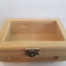Houten poplar doosje met sluiting en glazen venster 14.5x9.5