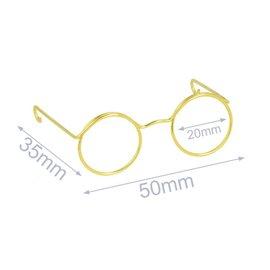 Bril voor knuffels 5cm goud