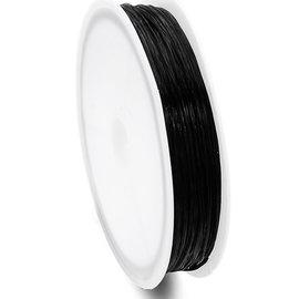 Elastiek zwart plat 0.8mm
