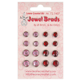 Leane creatief Jewel brads bordeaux / light pink 8x 6mm. & 8x 8mm