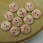 Knopen bruin met roosjes (22 per zakje)
