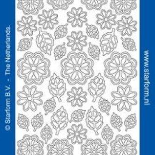 Starform Stickervellen 10st bloem/blad Goud - 1113
