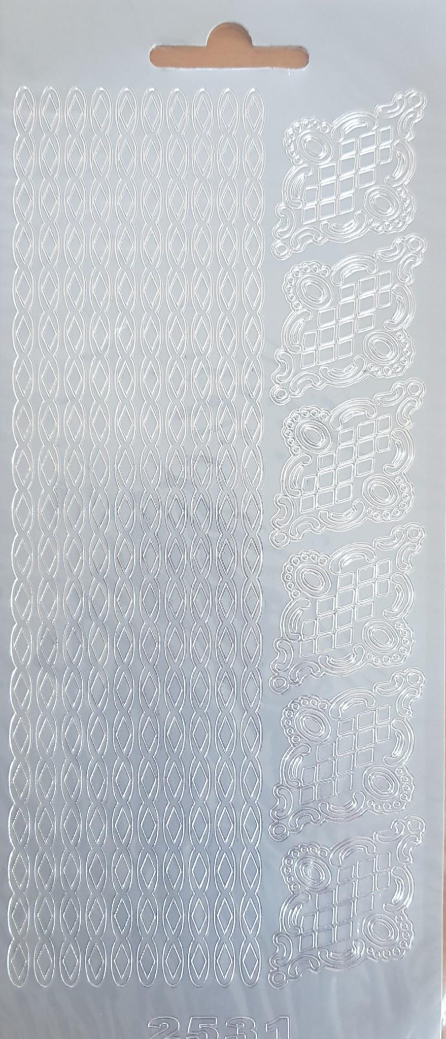 Stickervel randjes zilver rayher bordure (per vel)