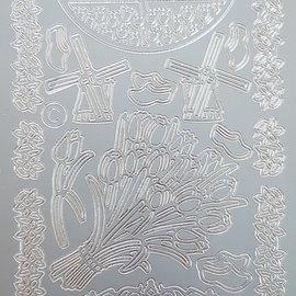 Stickervel zilver holland tulpen (per vel)