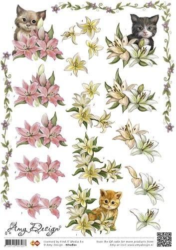 3D Knipvel - Amy Design - Bloemen met katten