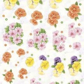 3D knipvel - Anne design - Bloemen violen