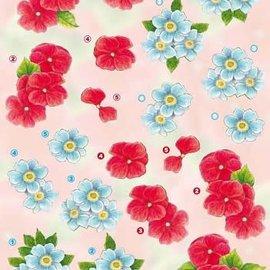 3D knipvel - Anne design - Rode en blauwe bloemen 2472